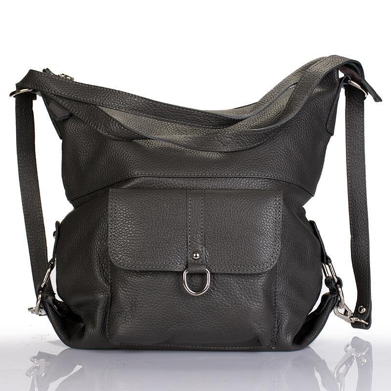 3d9393882c31 Italská dámská kožená kabelka tmavě šedá BR821