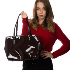 Italská dámská kabelka lakovaná lesklá bordó BR828 Přes rameno