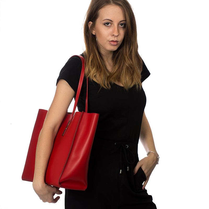 ... Italská dámská kožená kabelka červená na rameno BR833 Přes rameno fa495a8c046