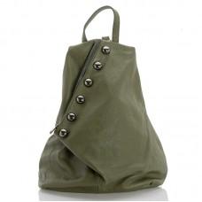 Kožený batůžek italský design  zelená BR953 Baťůžky