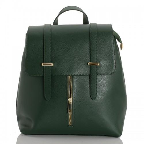 Kožený batoh italský  design zelená BR954 Baťůžky