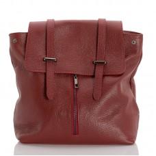 Kožený batoh italský design červená BR954 Baťůžky