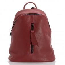 Kožený velký batůžek italský design červená BR960 Baťůžky