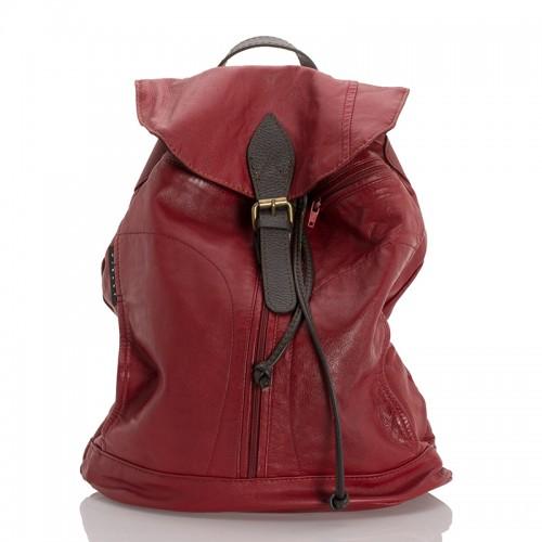 Kožený prostorný batoh italský červená BR946 Baťůžky