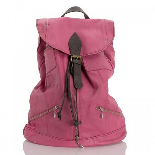 Kožený prostorný batoh italský růžová BR946 Baťůžky