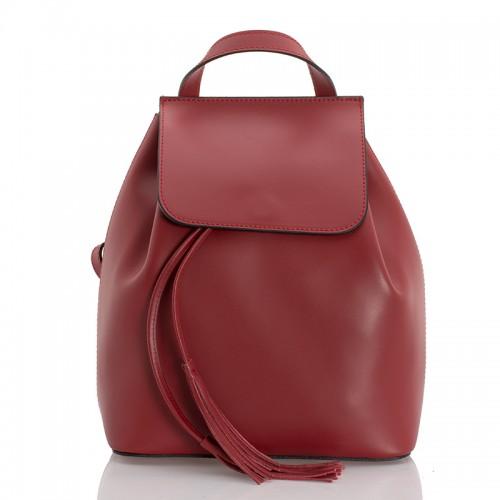 Kožený batůžek italský design červený BR941 Baťůžky