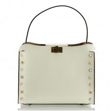 Italská dámská kožená kabelka bílá BR952
