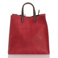 Italská dámská kožená kabelka červená BR955