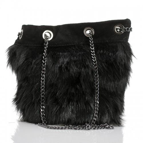 Italská dámská kožená kabelka černá BR956