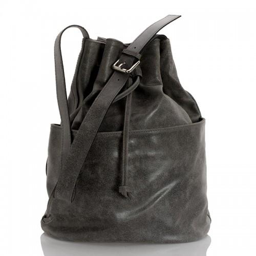 Kožený batoh italský  design šedá BR957
