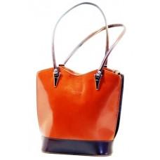 Italská elegantní kožená kabelka BR201 červená kombinace modrá