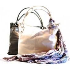 Italská kožená kabelka krémová, černá BR320