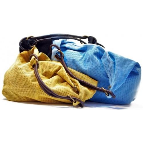 Italská perforovaná kožená kabelka jemný velur jen černá BR331