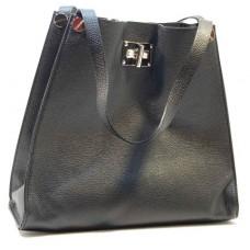 Italská čtvercová dámská kabelka kožená černá BR504 c5af97490a1