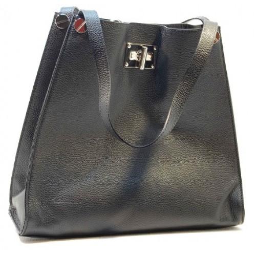 Italská čtvercová dámská kabelka kožená černá  BR504 Přes rameno