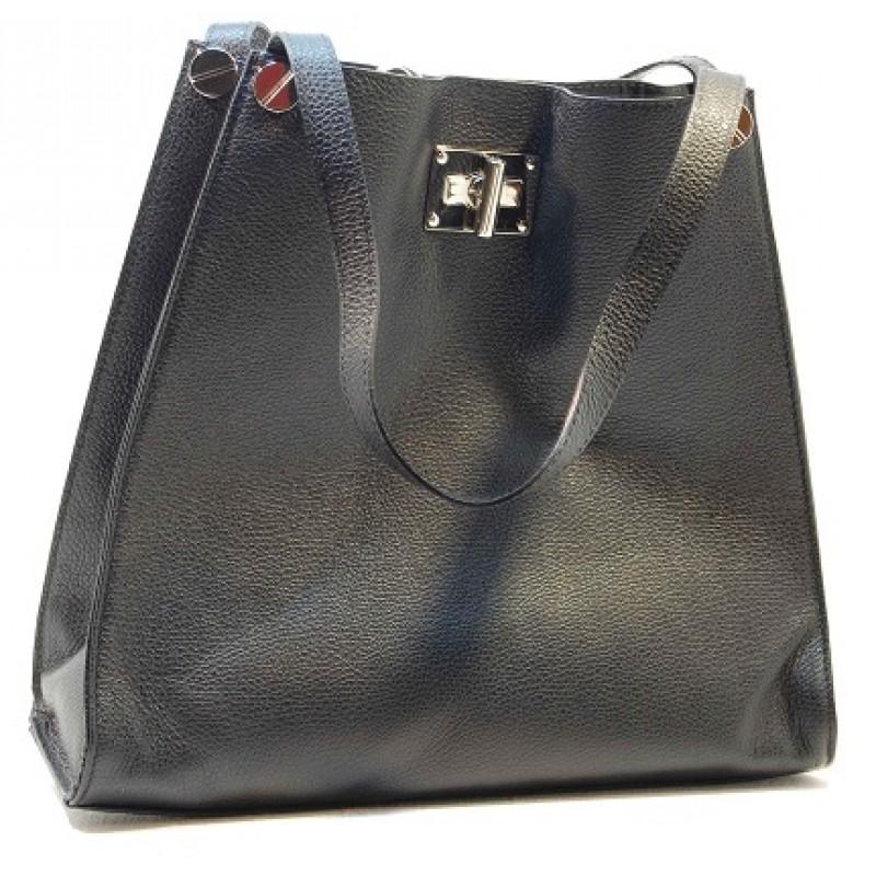 759e854acbe22 Italská čtvercová dámská kabelka kožená černá BR504