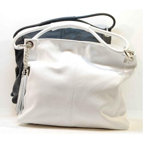 Italská dámská kabelka bilá kůže BR548 Přes rameno
