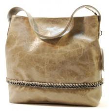 Italská kabelka kožená mramorová patina béžová řetízek eloksovaný BR545