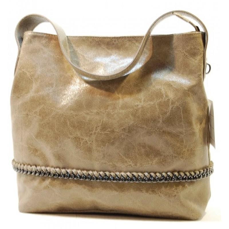 Italská kabelka kožená mramorová patina béžová řetízek eloksovaný BR545 523135d7fcb