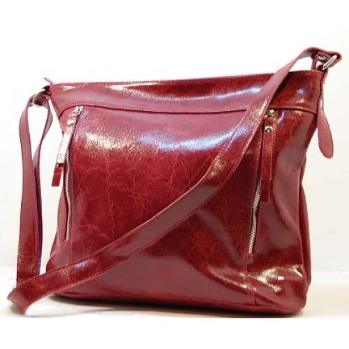 Italská kabelka kožená mramorová patina červená BR522 Kabelky do ruky