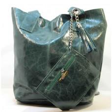 Italská kabelka kožená mramorová patina zelená BR514  Kabelky do ruky