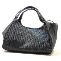 Italská kožená kabelka vzor textura klas černá BR509
