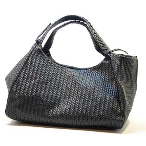 Italská kožená kabelka vzor textura klas černá BR509 Kabelky do ruky