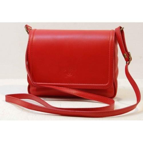 Italská kožená klopová kabelka červená BR527 Crossbody kabelky