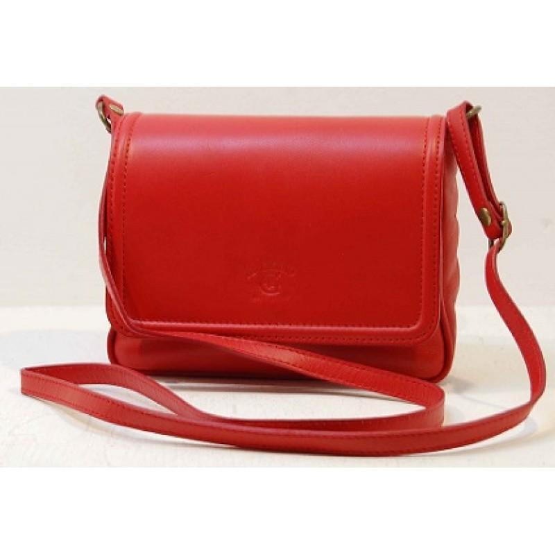 Italská kožená klopová kabelka červená BR527 b0834d5c958