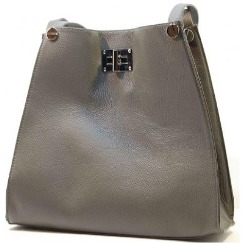 Italská móda kabelka kožená tvar čtverec šedá závěr magnetka BR504