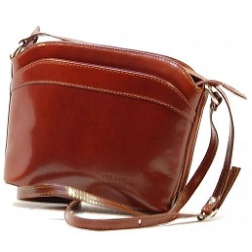 Italské kabelky kožené etue tmavě hnědá BR502 Crossbody kabelky