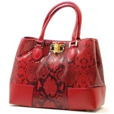Kožená italská luxusní kabelka jemný vzor červeno-černá BR518