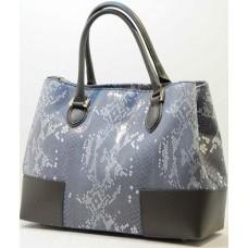 Kožená italská luxusní kabelka jemný vzor pevný tvar šedobílá BR519