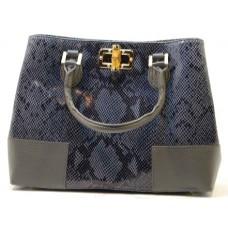 Kožená italská luxusní kabelka jemný vzor tmavě modrá  BR518