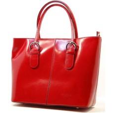 Kožená italská luxusní kabelka lakovaná barva šípku červená BR523