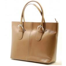 Kožená italská luxusní kabelka lakovaná béžová BR523