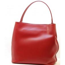 Kožená italská luxusní kabelka matný lesk hladká červená BR538