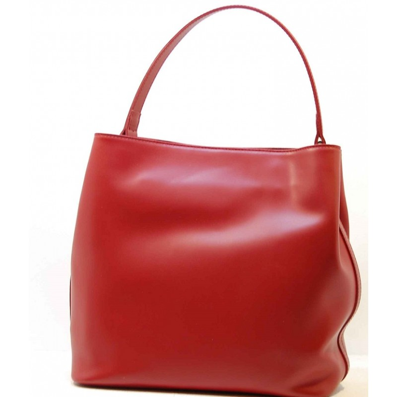 2af80c6243 Kožená italská luxusní kabelka matný lesk hladká červená BR538