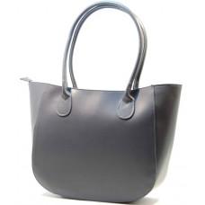 Kožená italská luxusní kabelka matný lesk hladká šedá BR521