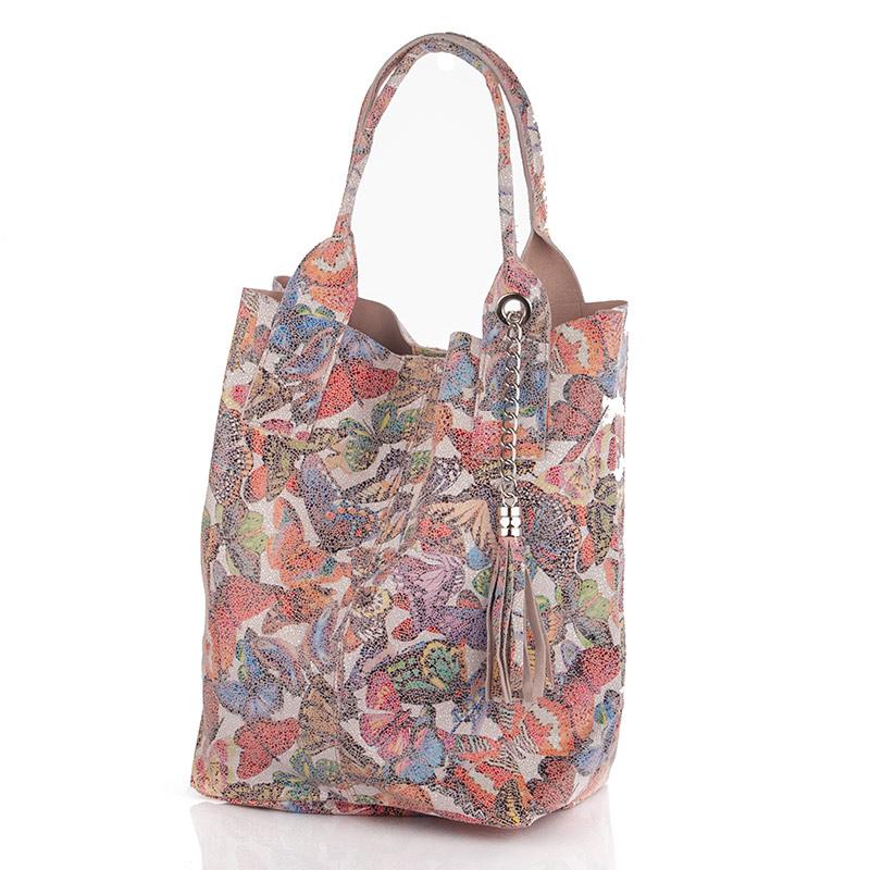 ... Italská kožená barevná světlá kabelka motiv motýli BR614 Přes rameno ... 17b3f49e685
