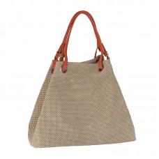 Italská perforovaná kožená kabelka síto jemná kůže béžová bílá káva beige BR551