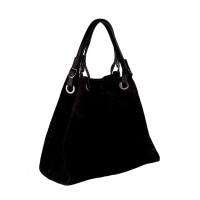 Italská perforovaná kožená kabelka síto jemná kůže černá BR551