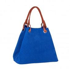 Italská perforovaná kožená kabelka síto jemná kůže modrá barva hořce BR551