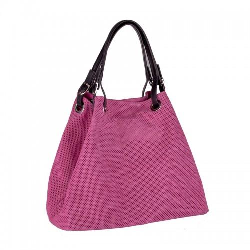 Italská perforovaná kožená kabelka síto jemná kůže růžová barva fuchsie BR551