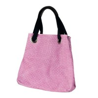 Italská kožená kabelka fialová sakura vlis do kůže vzor mříž BR143