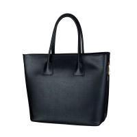 Kožená italská luxusní kabelka hladká matný lesk černá BR524