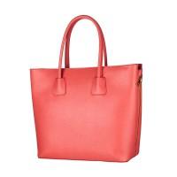 Kožená italská luxusní kabelka hladká matný lesk lososová růžová BR524