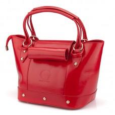 Italská kabelka hovězí hladká lakovaná kůže červená BR616