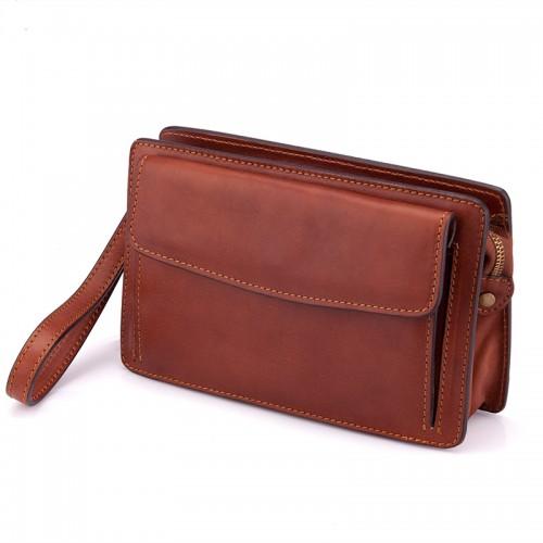 743b3274d7 Italská kožená kabelka do ruky hnědá klopa BR606