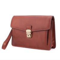 Italská kožená kabelka do ruky hnědá zámek BR607 Kabelky do ruky